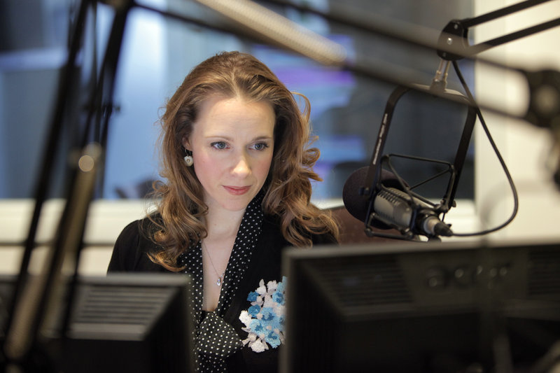 """Suzanne Nance prepares for her """"Morning Classical Music"""" show, top, in a Maine Public Broadcasting Network studio in Portland on Tuesday."""