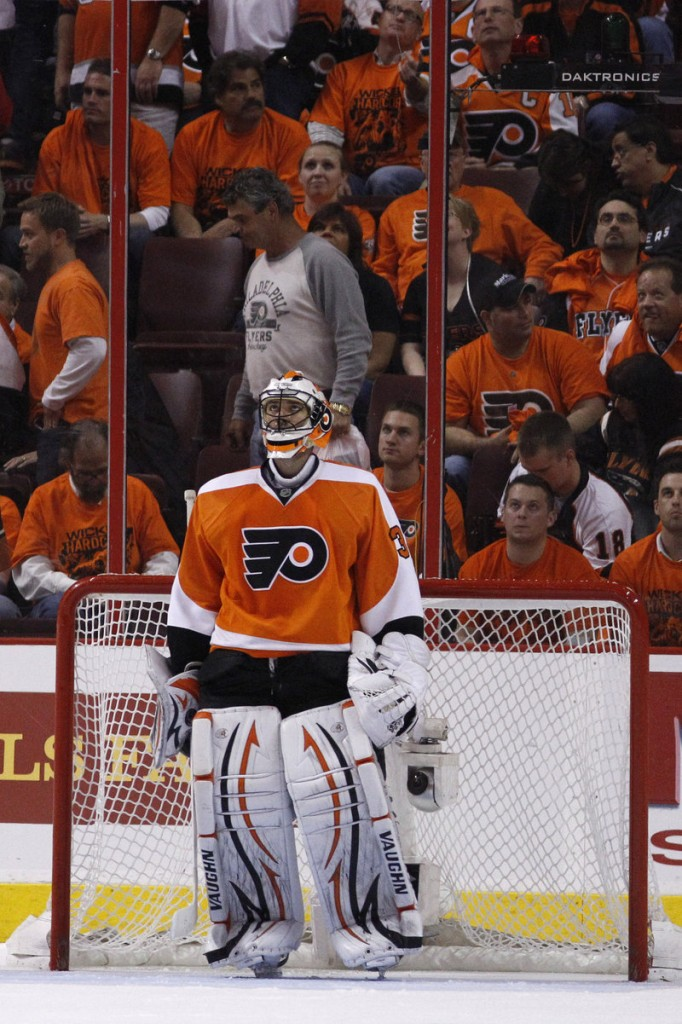 Brian Boucher and the Flyers' other goalies are shouldering the blame for the team's shaky showing in the 2011 playoffs, including its 0-3 series deficit against the Bruins.