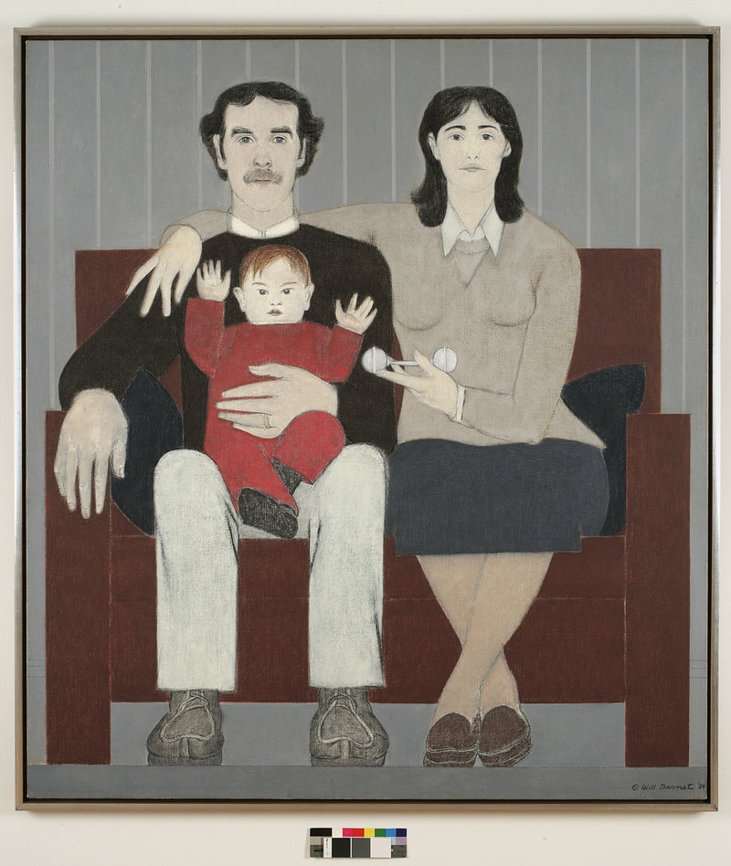 New England Family, 1984, oil on canvas, by Will Barnet, courtesy Alexandre Gallery, New York.