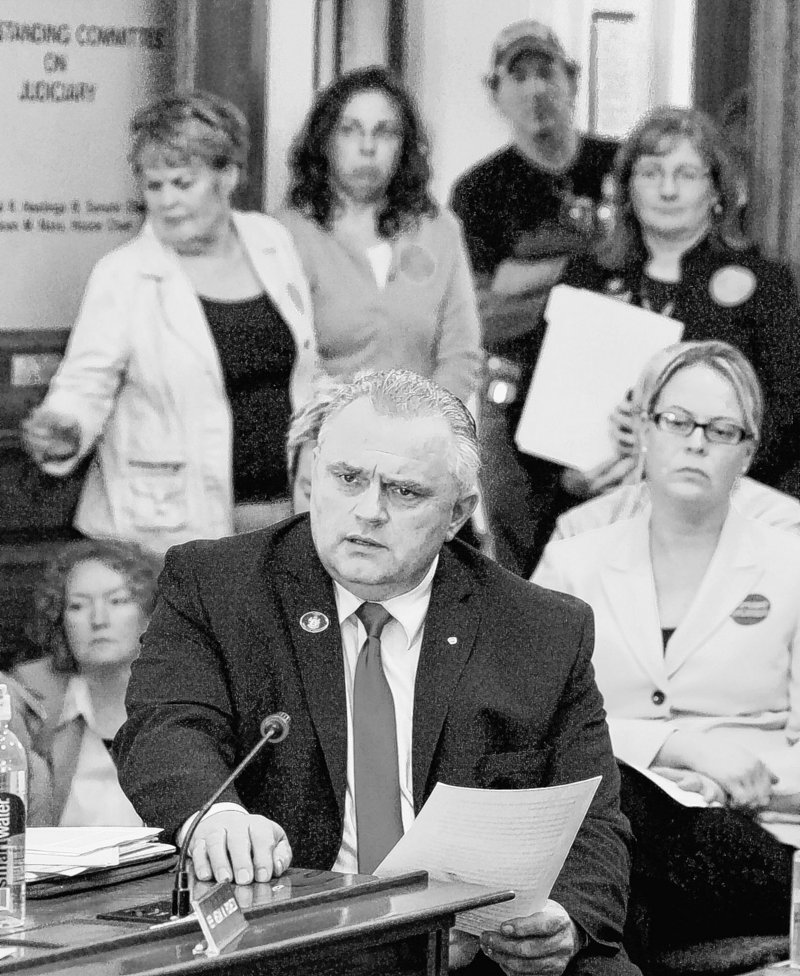 Rep. Dale J. Crafts, R-Lisbon, introduces one of three abortion-related bills heard by the Judiciary Committee on Tuesday in Augusta. His bill would require notarized written consent of a parent or legal guardian before an abortion may be performed on a minor, with some exceptions.