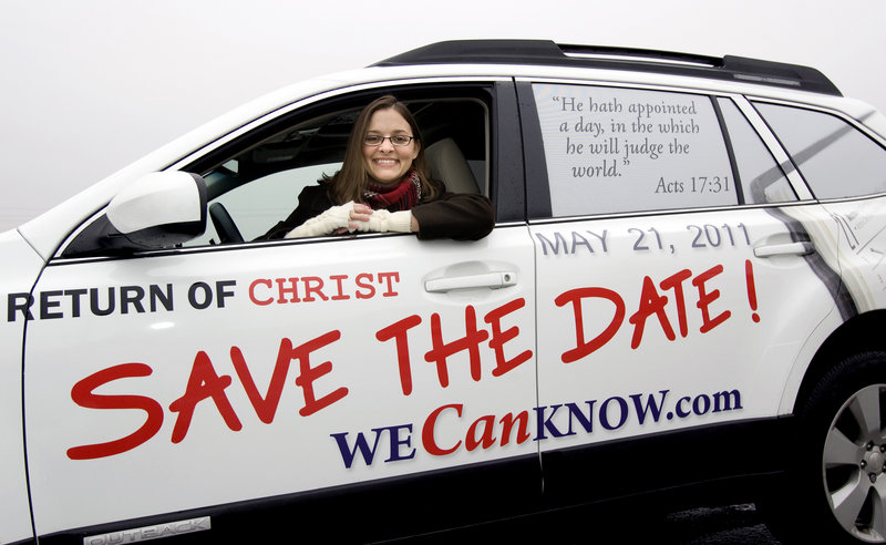 Allison Warden of Raleigh, N.C., has her car wrapped to let people know the day of Christ's return is near. Americans have been captivated by the end of time since the nation began.