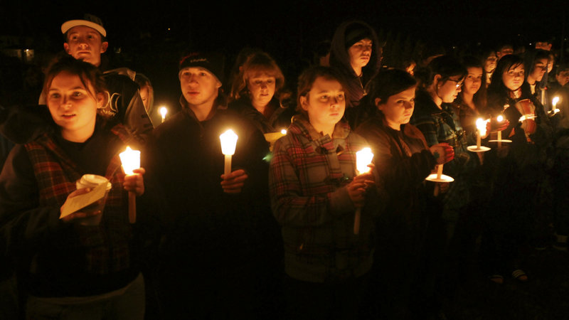 A candlelight vigil is held at South Hadley (Mass.) High School on Jan. 15, 2010, for freshman Phoebe Prince, 15, originally from Ireland, who had killed herself the previous day. Last week, five teenagers charged in the case reached plea deals in which they admitted in court that they participated in bullying her.