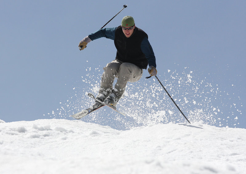 Josh Lake of Carrabassett Valley enjoys one final day of skiing at Sugarloaf on Monday. Sugarloaf shut down Monday, its latest closing since Memorial Day 1997.
