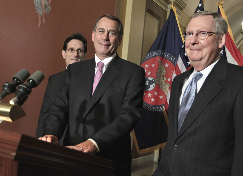 John Boehner, center, shown with Rep. Eric Cantor, R-Va., left, and Sen. Mitch McConnell, R-Ky.