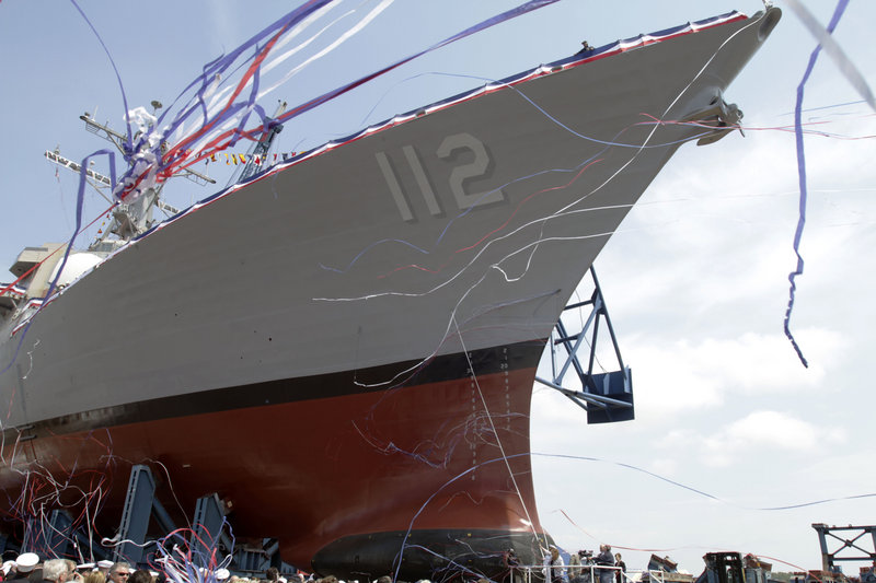 The future USS Michael Murphy, the last in a long line of Arleigh Burke-class destroyers, is christened Saturday at Bath Iron Works. The ships' successor, the DDG-1000 Zumwalt, will cost at least three times as much.