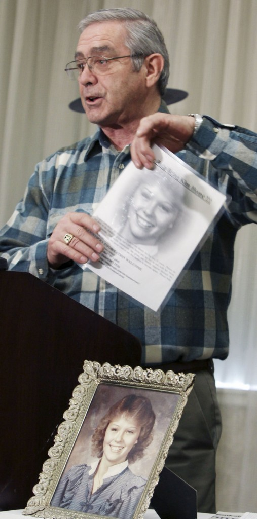 Dick Moreau of Jay speaks at a news conference Monday in Auburn where a photo of his daughter Kim at age 17 was displayed. In his quest to find out what happened the night she vanished in 1986, he continues to work with detectives, put up fliers and appeal to the public for information.