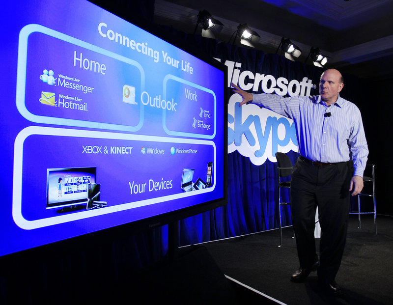 Microsoft CEO Steve Ballmer gestures during a news conference in San Francisco on Tuesday, after announcing Microsoft's acquisition of Skype, the biggest Internet voice and video calling service, for $8.5 billion.