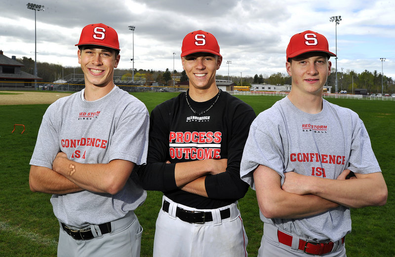 The Scarborough High pitching staff has proven more than tough for opponents. Ryan Mancini, left, allowed a total of seven hits over two games, and Ben Wessel, center, and freshman Ben Greenberg threw back-to-back no-hitters in Telegram League games last week.