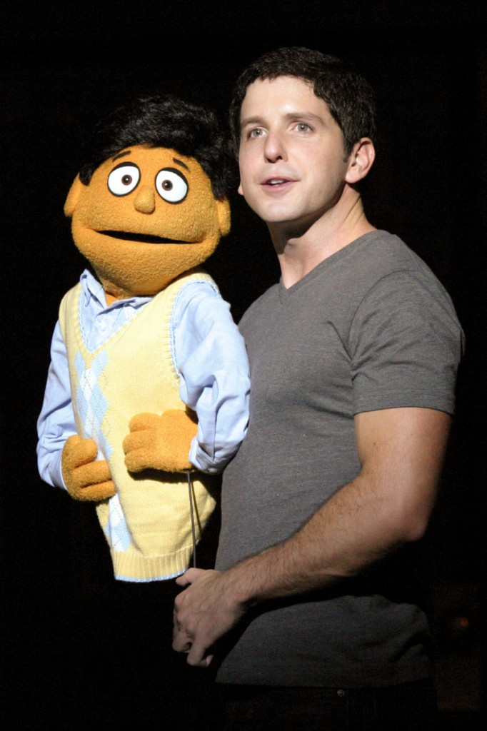 Howie Michael Smith with Princeton, his puppet counterpart, will reprise his Broadway role in Avenue Q at the Ogunquit Playhouse starting May 25.