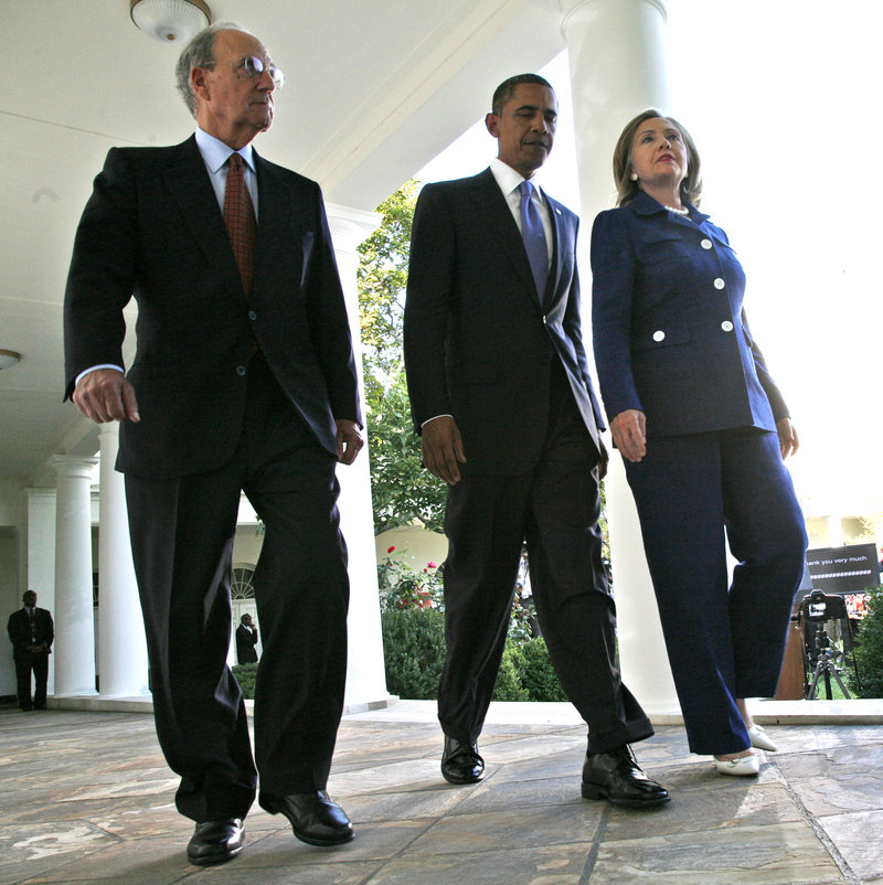 George Mitchell, President Obama and Secretary of State Hillary Clinton, prior to Mitchell's resignation as Mideast peace envoy: Readers admire his efforts.