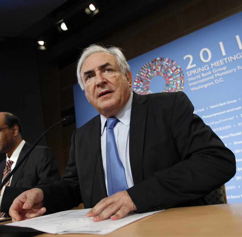 International Monetary Fund Managing Director Dominique Strauss-Kahn of France is shown attending the IMF/World Bank spring meetings in Washington last month.