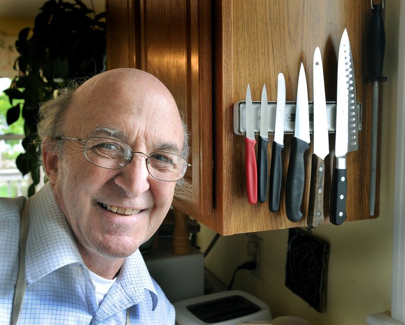 """Sharpener David Orbeton likes to keep his knives on a magnetic holder, """"because I can just wipe them off and hang them right up."""" He recommends storing kitchen knives in sleeves if they're kept in drawers."""