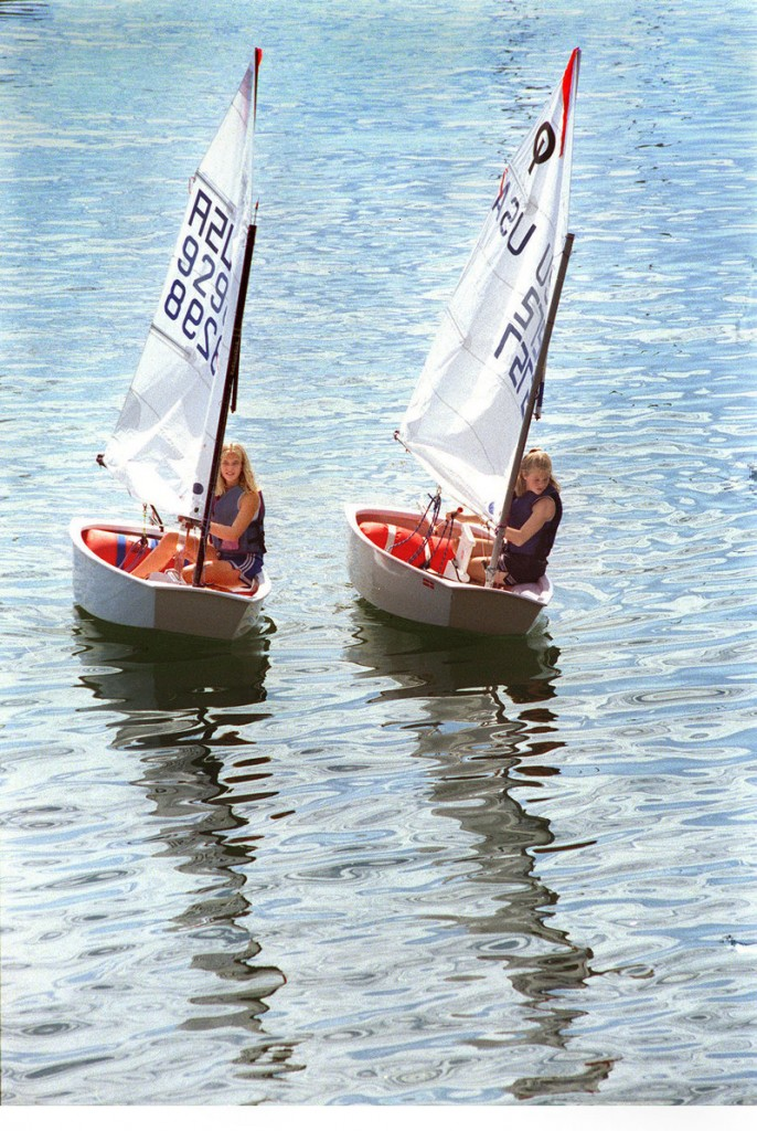 Optimist dinghys will be used for the younger students in the Harraseeket Yacht Club sailing program this summer.