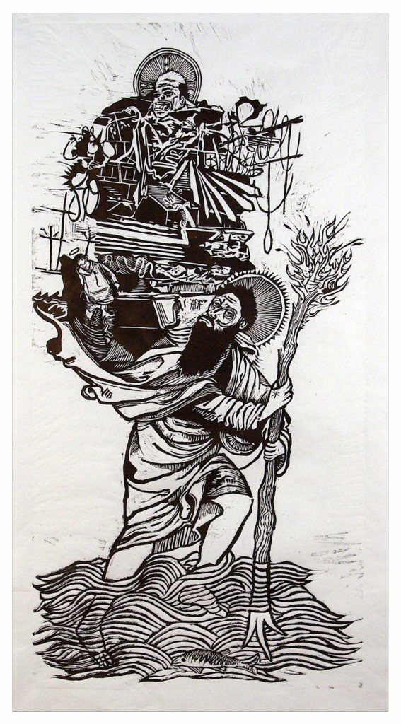 Some of Kyle Bryant s woodcut prints on paper appearing in The Things We Carry through July 25 at A Fine Thing: Ed Pollack Fine Arts include: St. Christopher.