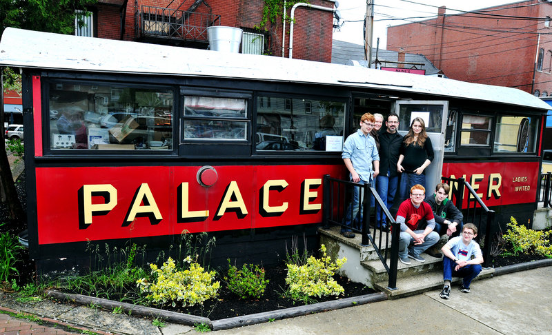 The Capotosto family will reopen the Palace Diner in Biddeford on May 30. They are, from left, in the back: son Jonathan, David's wife, Carmel, David and daughter Paulina. In the front are sons Nicholas, Samuel and Benjamin.