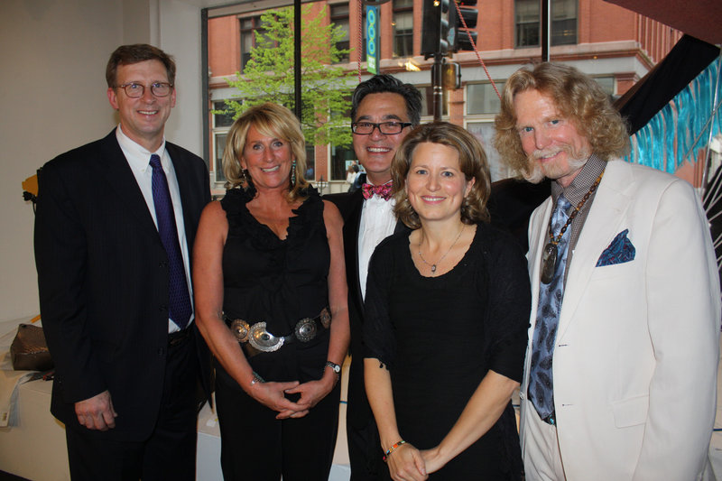 MECA President Don Tuski, Art Honoree Betsy Evans Hunt, event co-chairs Andy Verzosa, who owns Aucocisco Galleries, and Margaret Minister O'Keefe, a partner at Pierce Atwood, and Art Honoree Christopher Hunt.