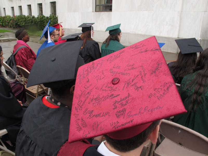 Students take part in a mock graduation ceremony at the state Capitol in Salem, Ore., on May 11. The ceremony was held to promote a bill that would allow illegal immigrants to pay in-state tuition to attend public universities in Oregon.
