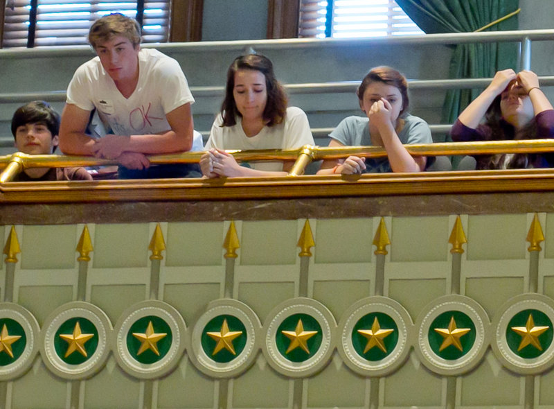 Opponents of the bill to prevent discussion of homosexuality in early grades watch as the Tennessee Senate approves the measure Friday. The House is unlikely to take it up this year.