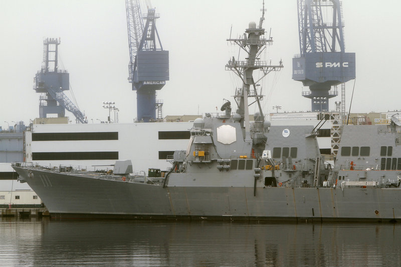 The USS Spruance is due to leave Bath Iron Works in September. The Army Corps of Engineers says its path in the Kennebec River must be fully dredged in August.
