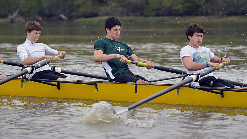 Mark Endrizzi – in the middle with a green shirt – will graduate from Scarborough High this month, but he's also a member of the rowing team at Waynflete.