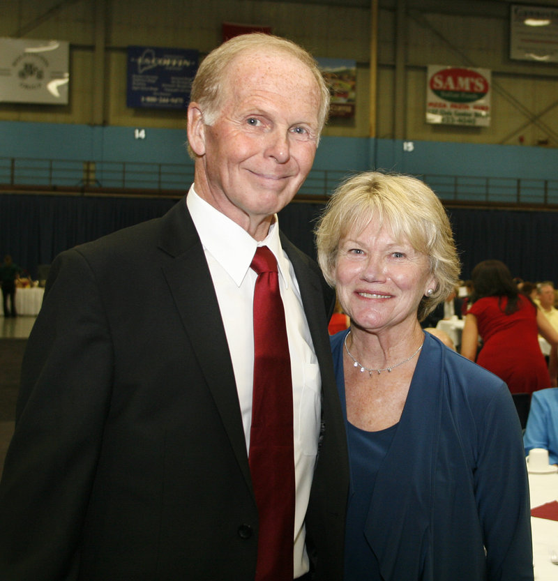 Art Dyer, a former basketball coach at Medomak Valley and Westbrook high schools, is joined by his wife, Elizabeth. Dyer had a record of 336-50 in 20 high school seasons.