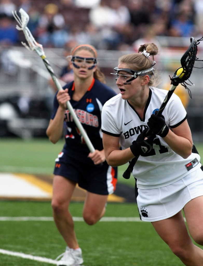 Carolyn Gorajek goes on the attack during Sunday's NCAA final at Adelphi University. Gorajek and Katy Dissinger each scored two goals for the Polar Bears.