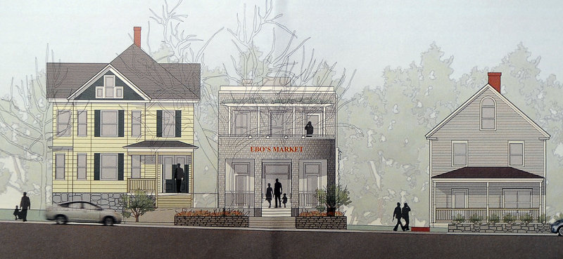 A Sebago Technics drawing depicts Ebo's Market, a small food store once planned for Willard Square in South Portland.