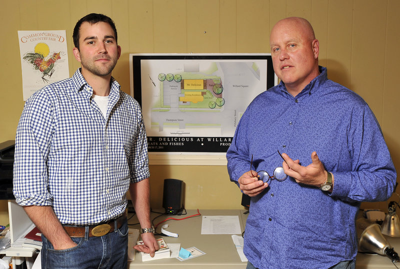 Business partners Ian Hayward, left, and Glenn Perry lost funding for Ebo's after a building moratorium was passed.