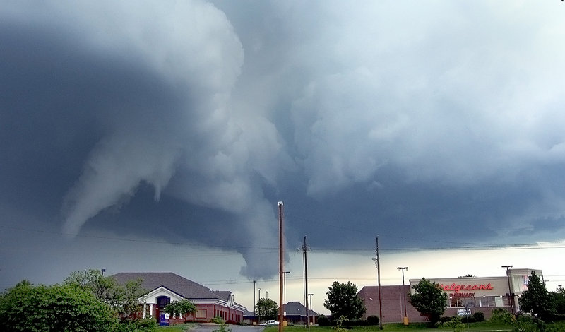 A photo taken Saturday shows funnel clouds above Topeka, Kan., around 6:20 p.m. The National Weather Service issued a series of tornado warnings as the storm system moved throughout the region late Saturday afternoon and headed toward Missouri on Saturday evening.