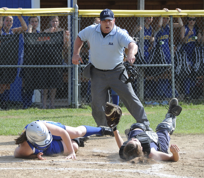 ... Catcher Carla Tripp was there to make the tag for Fryeburg Academy after a throw from center fielder Maddie Pearson, and the momentum had changed. The Raiders took command and rolled to an 11-1 victory.