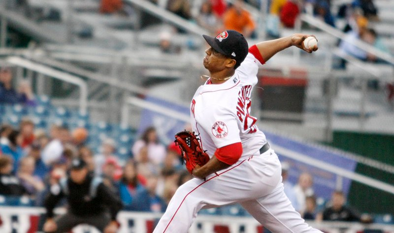 Stolmy Pimentel delivers a pitch during his outing against the Trenton Thunder on Friday. Pimentel allowed two earned runs in five innings of work but took the loss as the Thunder won 4-2 in a fog-shortened game.
