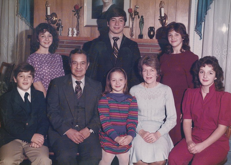 Patricia Ciampi is seen here with her family in an annual Christmas portrait in the mid-1980s: front from left, Anthony, Dr. Louis Ciampi, Gilda, Mrs. Ciampi and Joanna; and in back, Marianna, Michael and Carla.