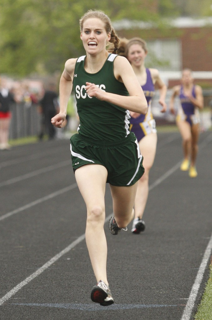 Amber Dostie of Bonny Eagle won the 1,600, one of her two victories. Her sister, Peyton, set a meet mark in the 300 hurdles.