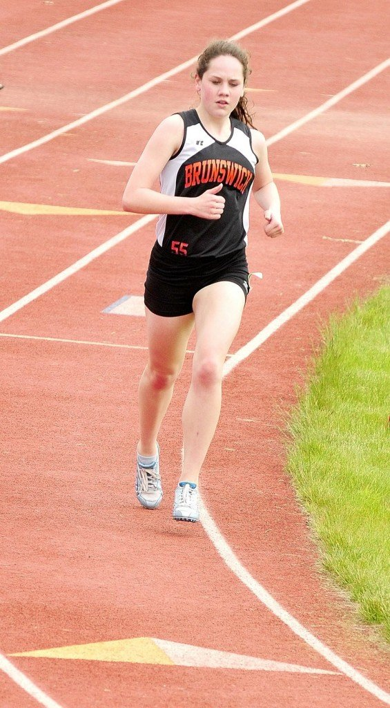 Kathleen McMahon of Brunswick heads to a second-place finish in the 3,200-meter run in Class A at the KVAC championships.