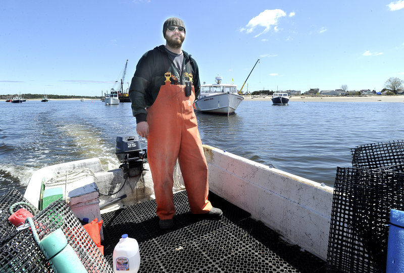 Nate Perry is growing oysters on the Scarborough River.