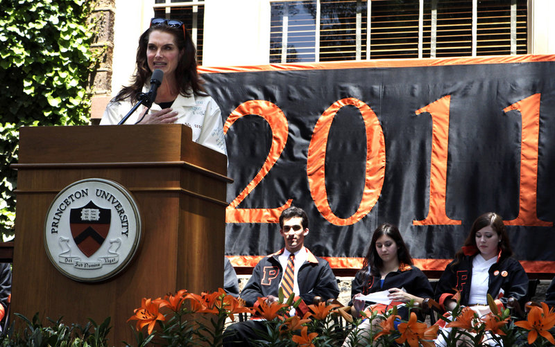 Actress and Princeton University graduate Brooke Shields speaks during the school's Class Day on Monday in Princeton, N.J.