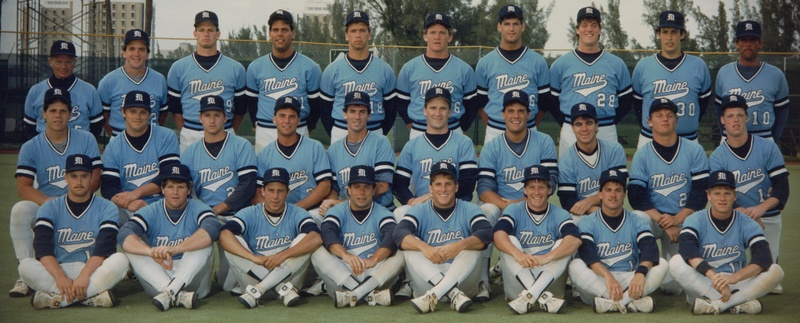 Back in 1986, a team from the University of Maine with a roster heavy with players from the state created memories at the College World Series. Back row, left to right: Coach John Winkin, Bob Whalen, Dan Etzweiler, Bill Reynolds, Scott Morse, Jim Overstreet, Dale Plummer, Jim Childs, Mike Ballou, Rob Roy; middle row: Jim McMichael, Mike LeBlanc, Rob Wilkins, Mike Bordick, Rick Bernardo, Jeff Plympton, Steve Loubier, Derek Aramburu, George Goldman, Colin Ryan; front row: Dan Kane, Jay Kemble, Marc Powers, Dave Gonyar, Gary La Pierre, Mike Dutil, Gary Dube, Don Hutchinson.