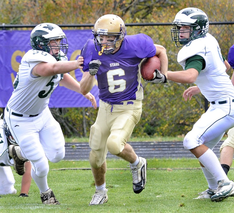 Peter Gwilym, a senior quarterback and defensive back, led the Stags to a 12-0 record and the Class A state football title and won the Fitzpatrick Award as the state's top senior player.