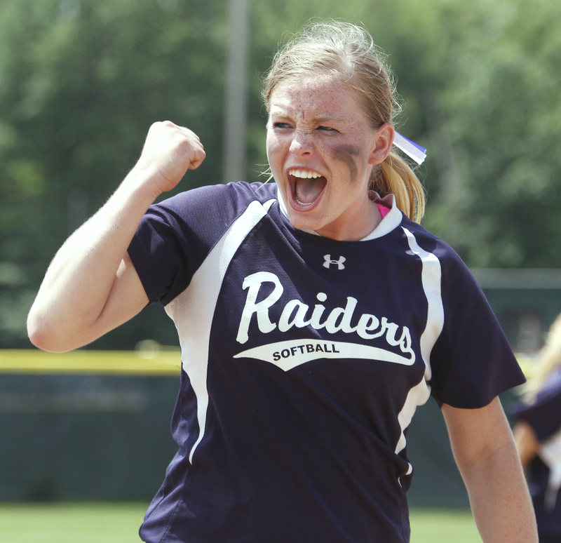 Maggie McConkey of Fryeburg celebrates after a 5-2 win over Bucksport today for the state Class B softball championship.