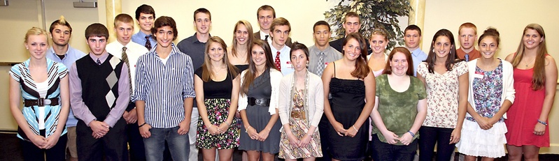 The list of 2010-11 MVPs included, from left to right, Alyssa Drapeau, volleyball, Biddeford; Mitch Tapley, boys' lacrosse, Falmouth; Brady Fleurent, boys' hockey, Biddeford; Silas Eastman, boys' cross country, Fryeburg Academy; Ethan Burke, boys' skiing, Hampden Academy; Marcus Cloutier, boys' swimming, Cape Elizabeth; Theo Bowe, boys' basketball, Cape Elizabeth; Nicole Kirk, girls' indoor track, Scarborough; Carley O'Brien, girls' outdoor track, Traip Academy; Emily Lane, girls' soccer, Sacopee Valley; Phil Frost, boys' soccer, Bangor; Jack Terwilliger, boys' outdoor track, Cheverus; Abbey Leonardi, girls' cross country, Kennebunk; McKenzie Gary, boys' indoor track, Mt. Ararat; Maria Varano, girls' tennis, Kennebunk; Peter Gwilym, football, Cheverus; Nicole Sevey, field hockey, Skowhegan; Ali Prescott, girls' golf, Fort Kent; Jacob Powers, wrestling, Camden Hills; Alexis Bogdanovich, softball, South Portland; Mike Arsenault, boys' golf, Gorham; Mia Rapolla, girls' lacrosse, Gorham; and Kayla Burchill, girls' basketball, Deering. Not present were Sophie Goulet, girls' hockey, St. Dom's; Becca Bell, girls' skiing, Yarmouth; Sarah Easterling, girls' swimming, Greely; Scott Heath, baseball, Westbrook; and Patrick Ordway, boys' tennis, Waynflete.