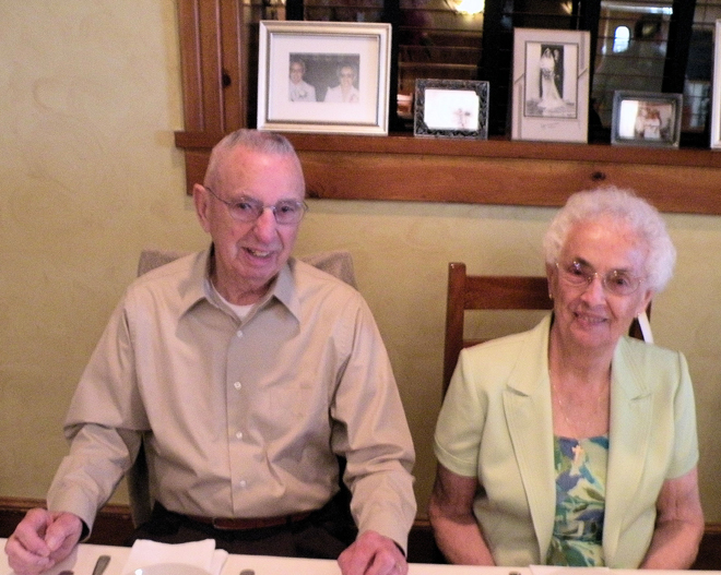 Ralph, 93, and his wife Irene (Martel) Morin, 88, celebrate their 70th wedding anniversary in Alfred. The couple were married on June 14, 1941, in Saco.