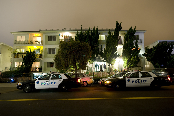 Police and FBI surround the apartment building in Santa Monica, Calif., where fugitive crime boss James