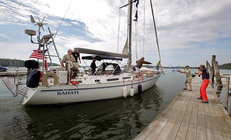 The Bahati returns to Freeport today. Nat and Betsy Warren-White left from the same dock aboard the 43-foot Montevideo cutter sailboat on Oct. 21, 2006.