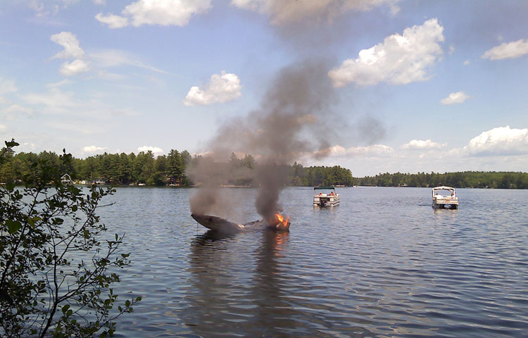 This boat caught fire and sank about 50 yards from the public boat launch at Sokokis Trail on Ossippee Lake.