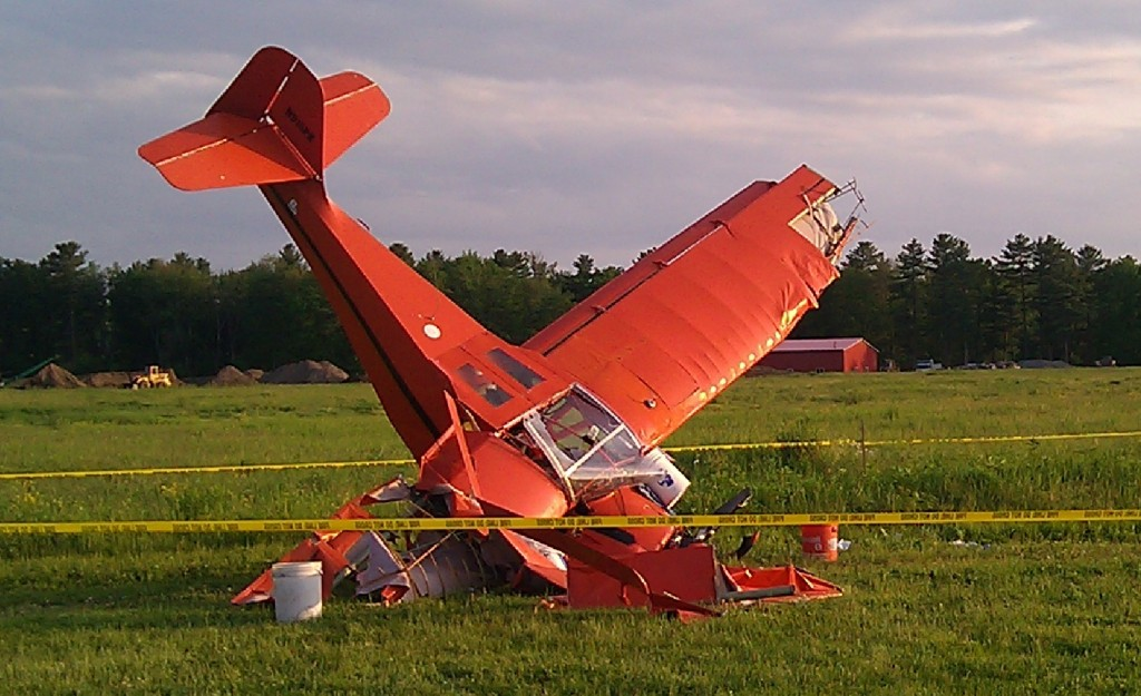 A small plane crashed nose-first in Scarborough this evening. Two men were taken to the hospital with serious injuries.