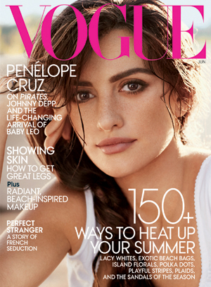 Penelope Cruz is on the cover of June's Vogue magazine.