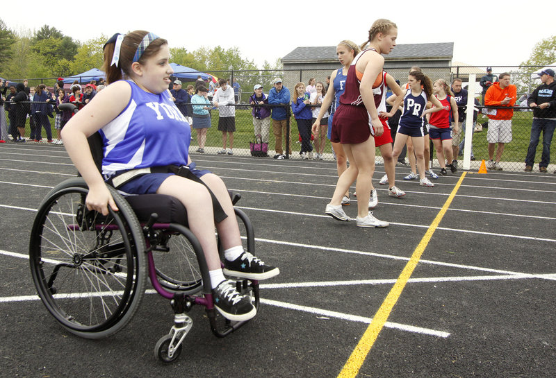 Hope Reed of York, a freshman, competed last weekend in the 100 at the Western Maine Conference meet. She is one of the three wheelchair athletes in Maine who have become part of their high school team.