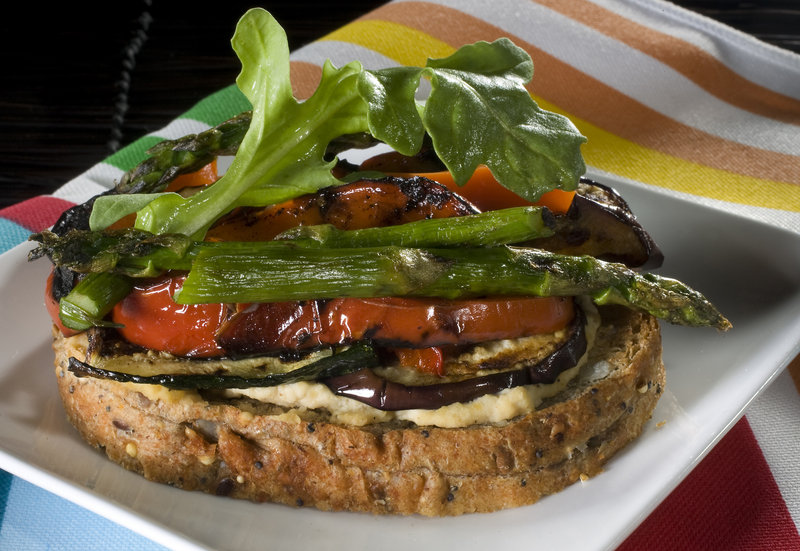 Grilled Vegetable Tartine with low-fat hummus, served as an open-face sandwich.