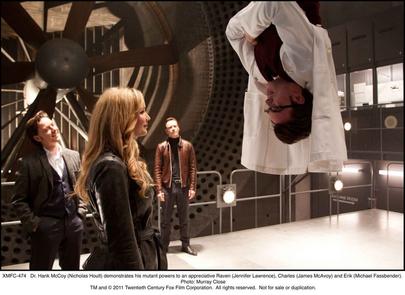 Hank McCoy (Nicholas Hoult) demonstrates his mutant powers to an appreciative Raven (Jennifer Lawrence) in