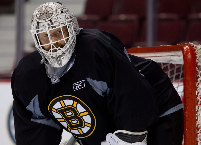 Boston goalie Tim Thomas has played in each of the team's 18 playoff games this season, compiling a 2.29 goals-against average and a .929 saves percentage.